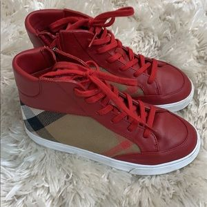 Burberry red leather high tops